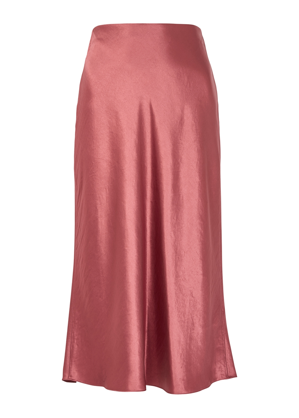 Rose satin midi skirt