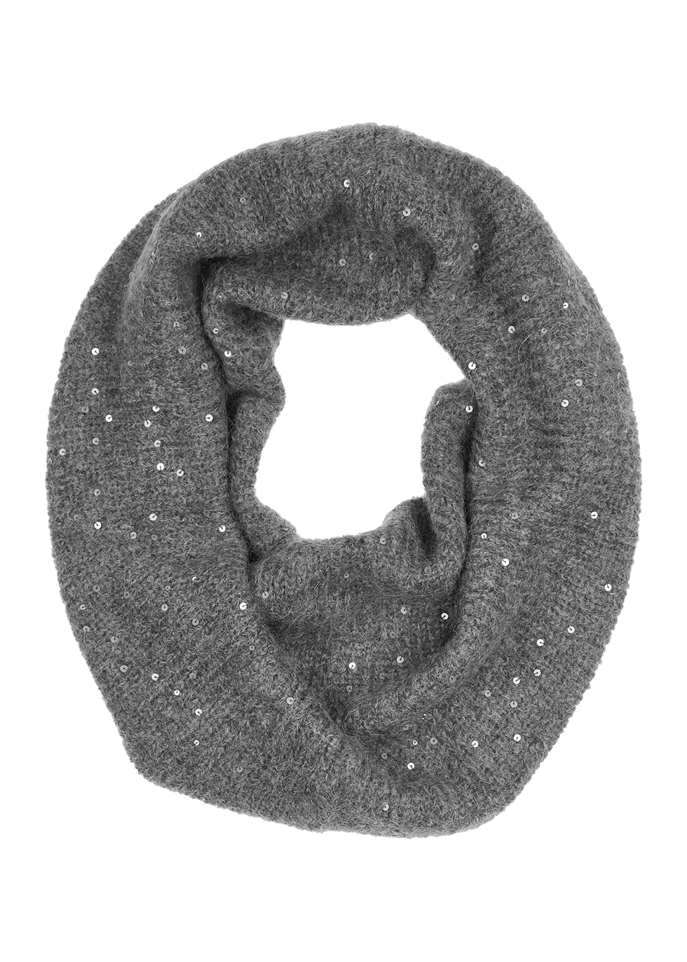 Grey embellished mohair-blend snood