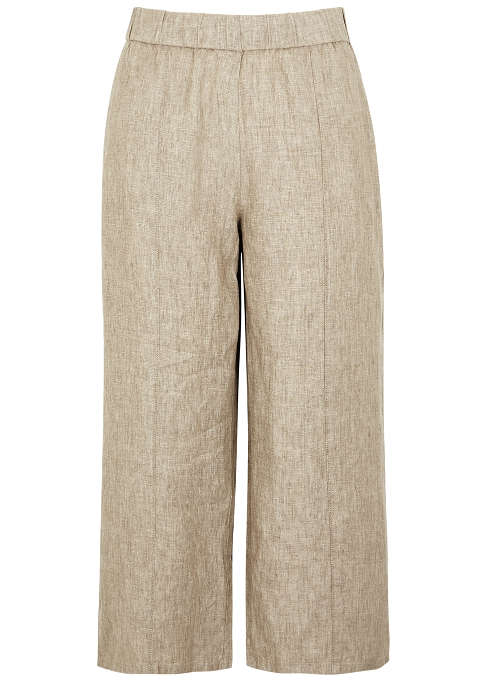 Stone wide-leg linen trousers