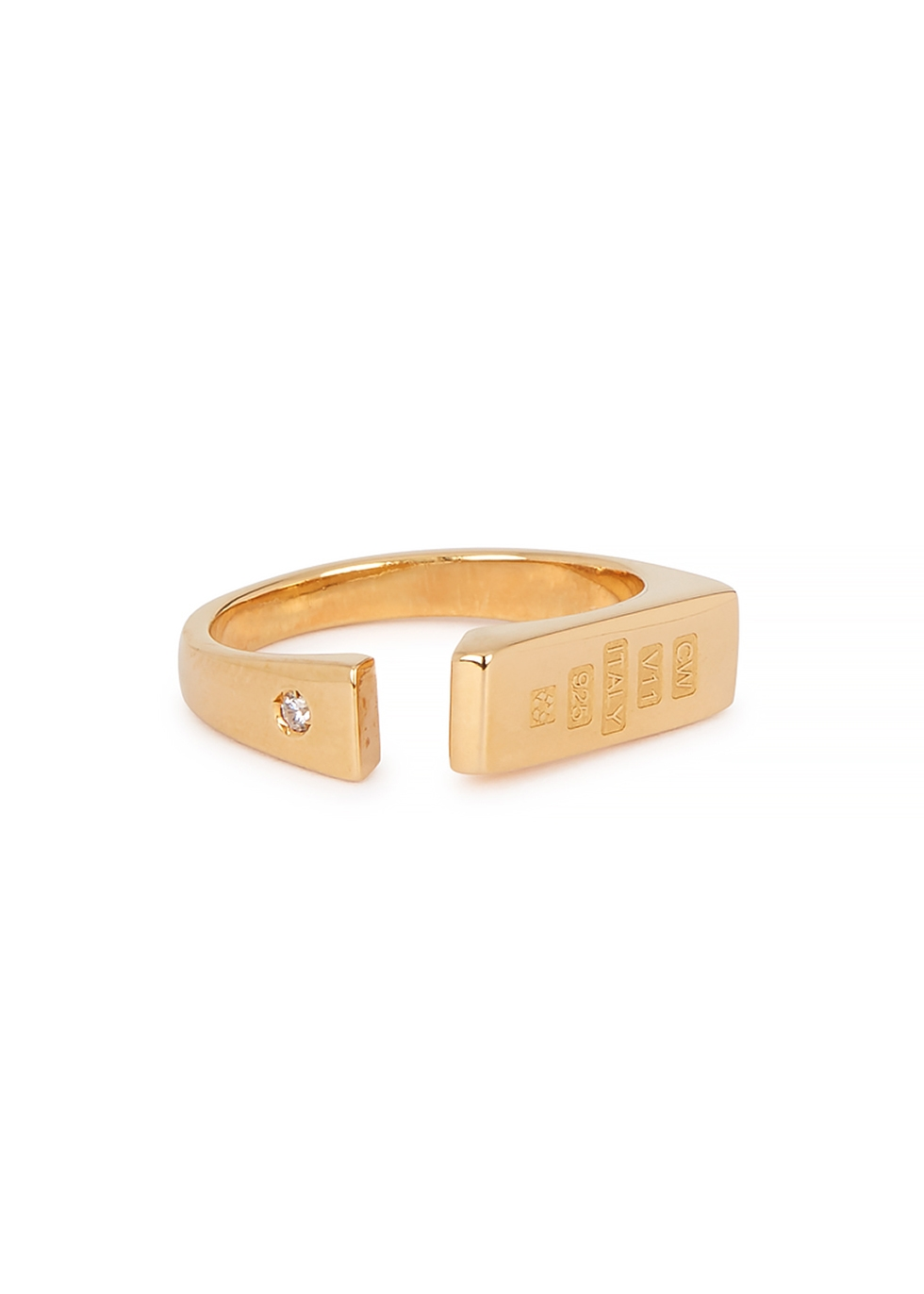 Distorted 24kt gold-plated signet ring