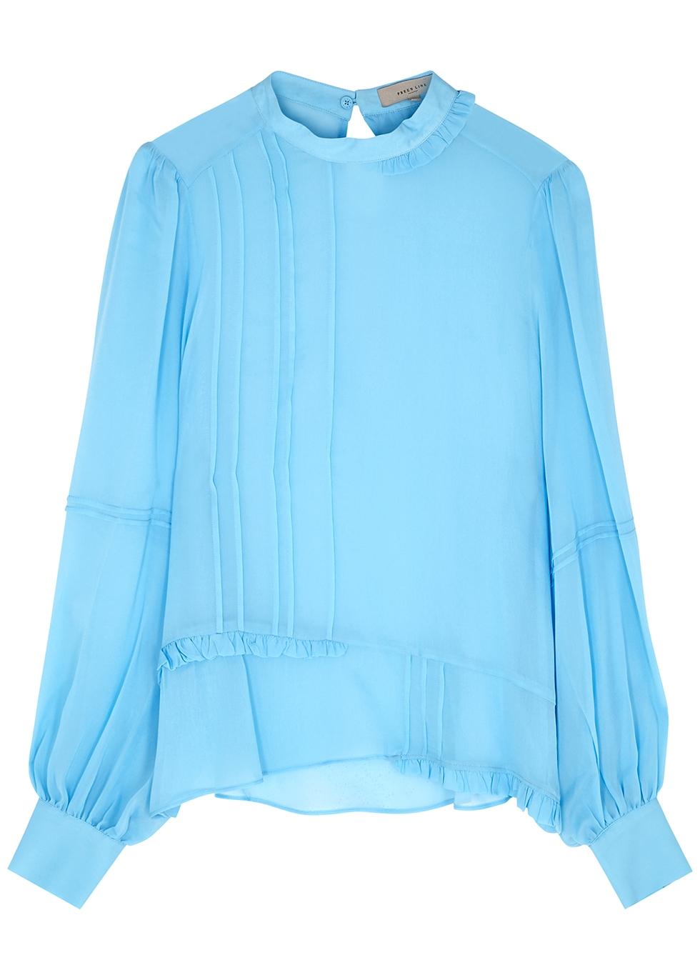 Adeline blue chiffon blouse
