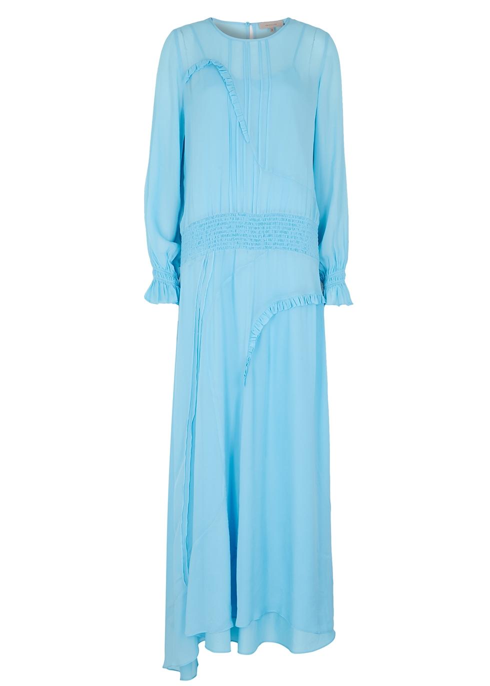 Cornflower blue chiffon maxi dress
