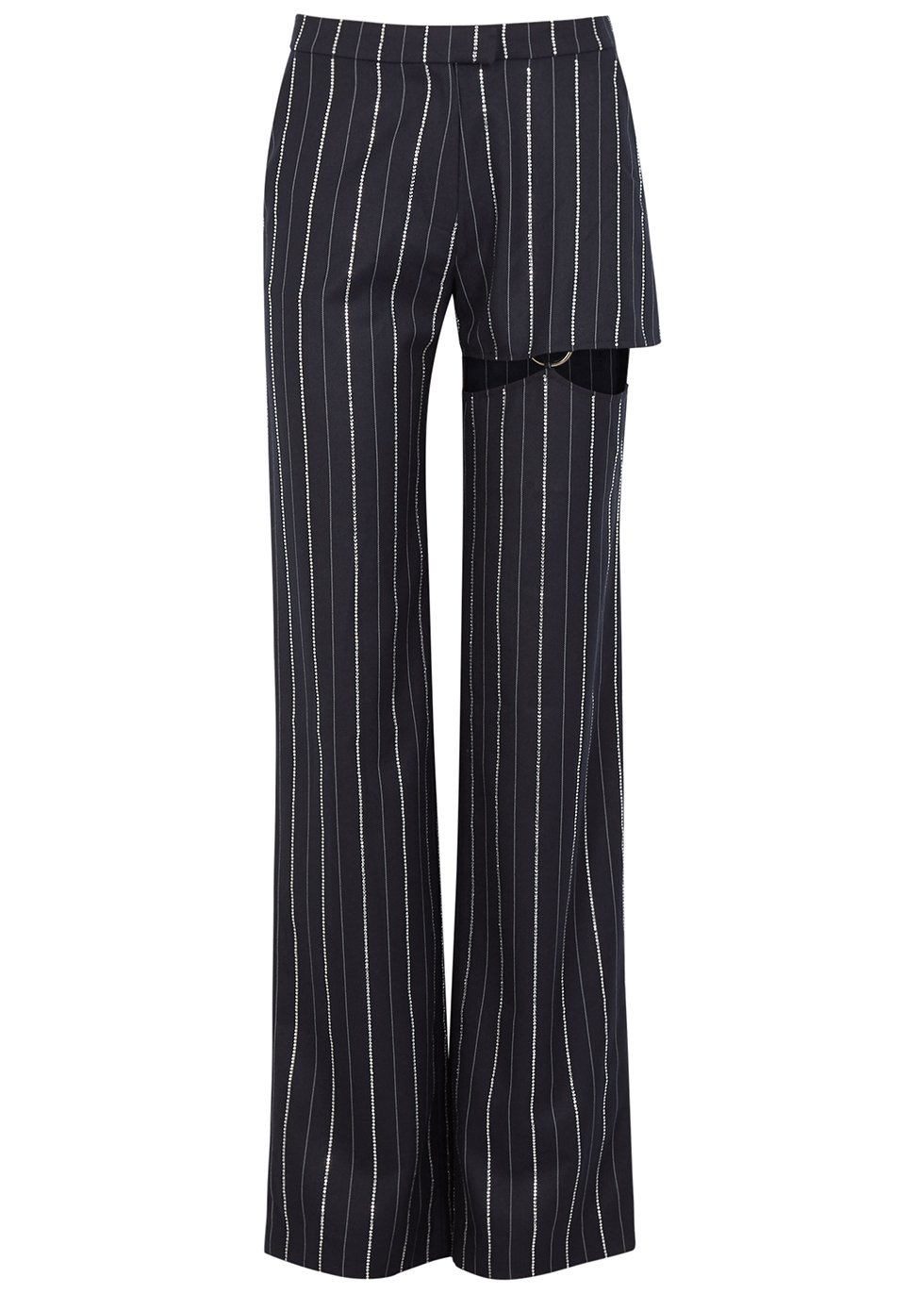 Navy embellished straight-leg trousers