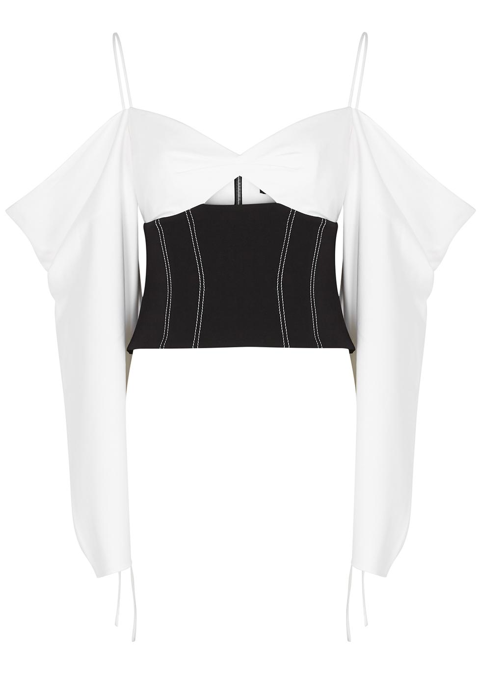 Monchrome open-shoulder cotton top