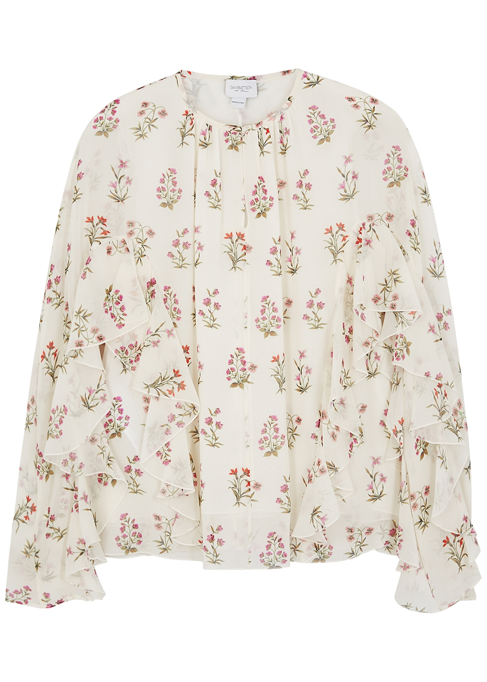 Floral-print silk-chiffon blouse