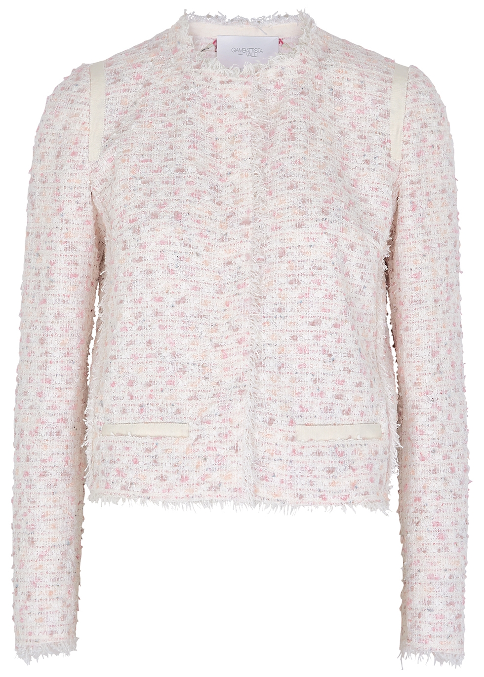 Ivory and pink bouclé tweed jacket