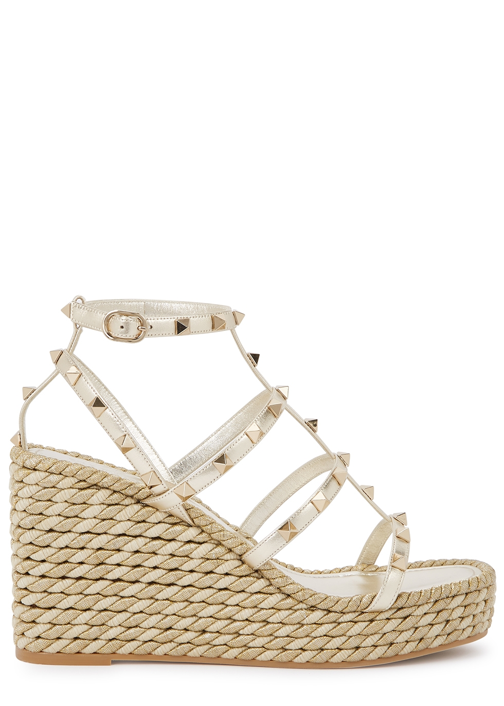 Valentino Garavani Rockstud 125 leather wedge sandals