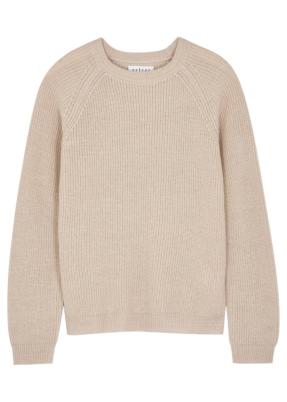 Charli metallic-weave ribbed-knit jumper