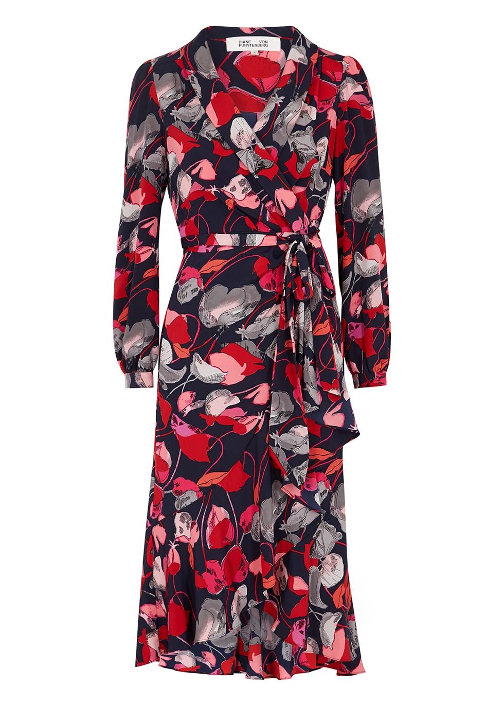 Carla floral-print silk wrap dress