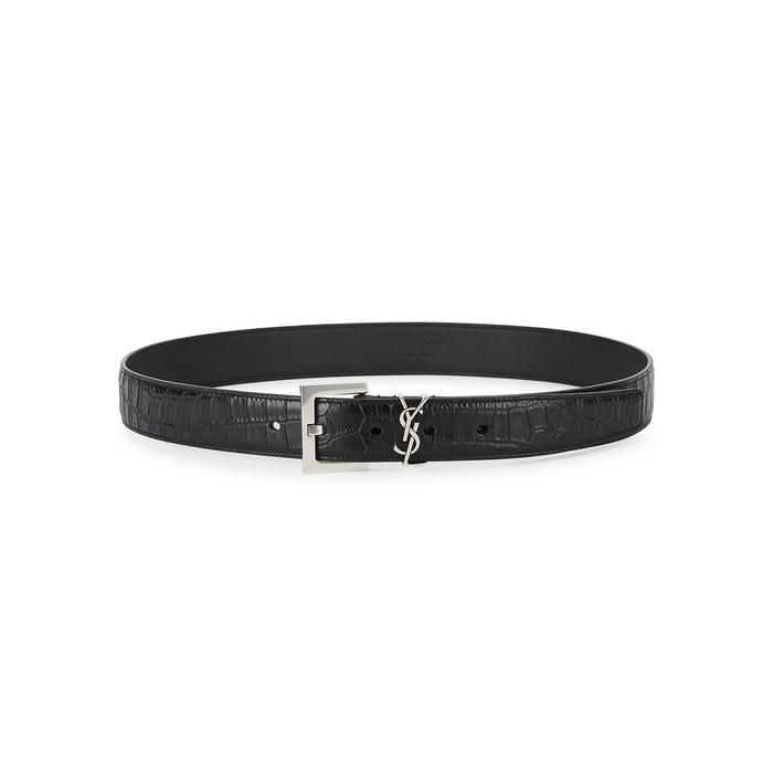 Saint Laurent Black Crocodile-effect Leather Belt