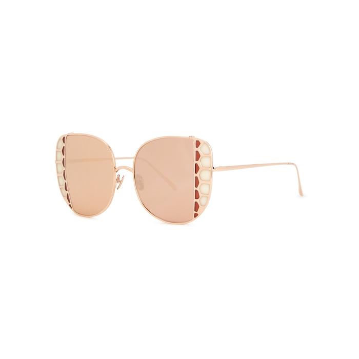 Linda Farrow Luxe Amelia Mirrored Oversized Sunglasses In Gold