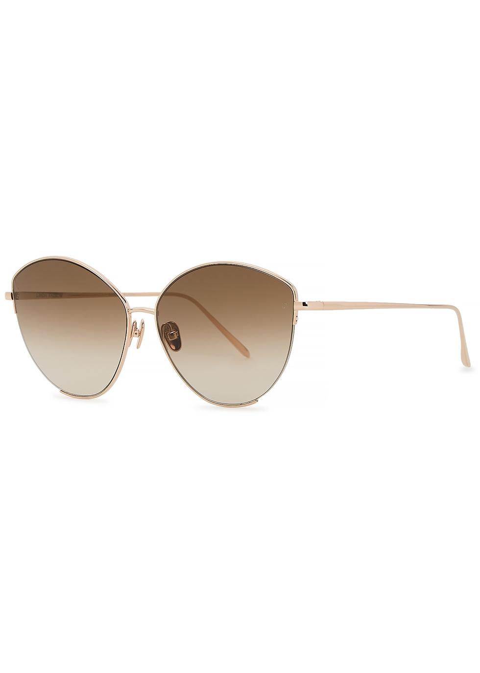 Ella 18kt rose gold-plated cat-eye sunglasses