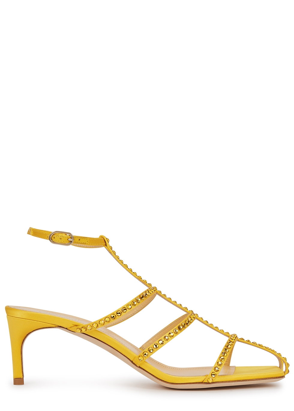 Kaya 65 yellow crystal-embellished satin sandals