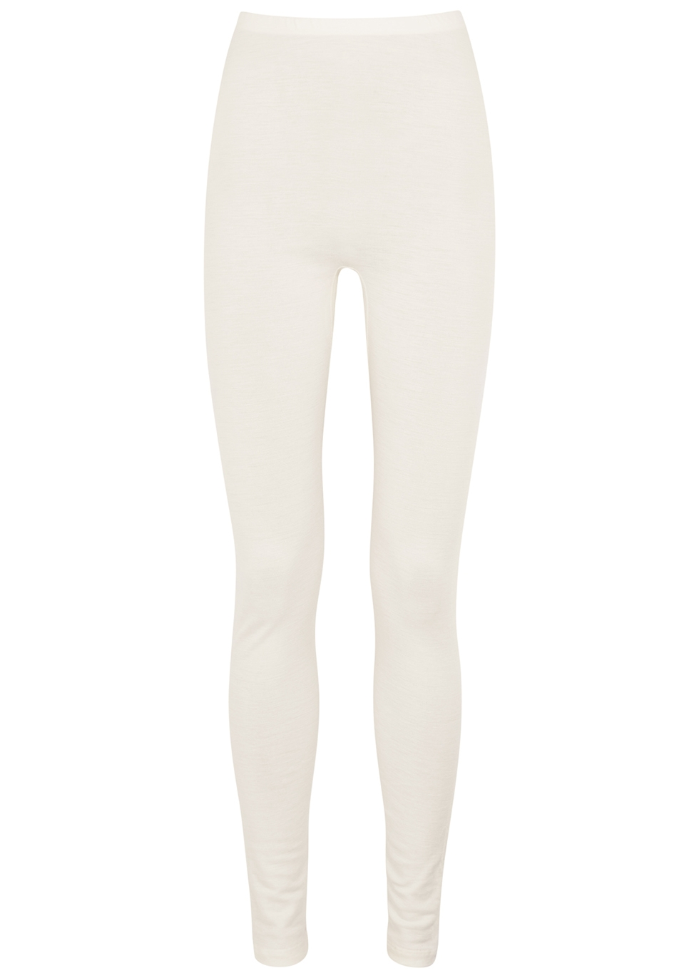 Cream wool and silk-blend leggings