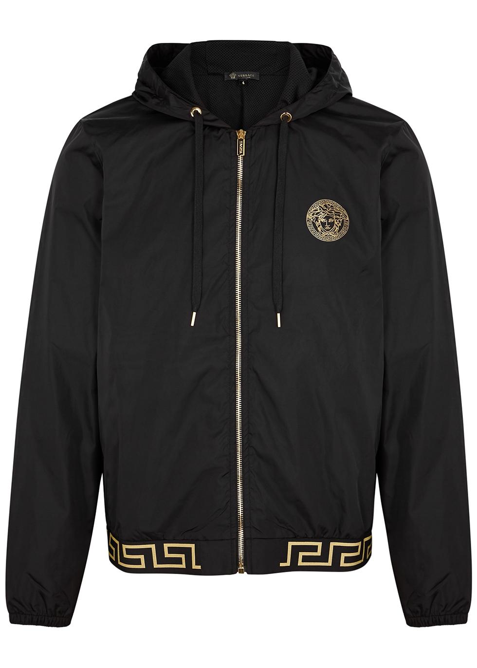 Black hooded shell jacket