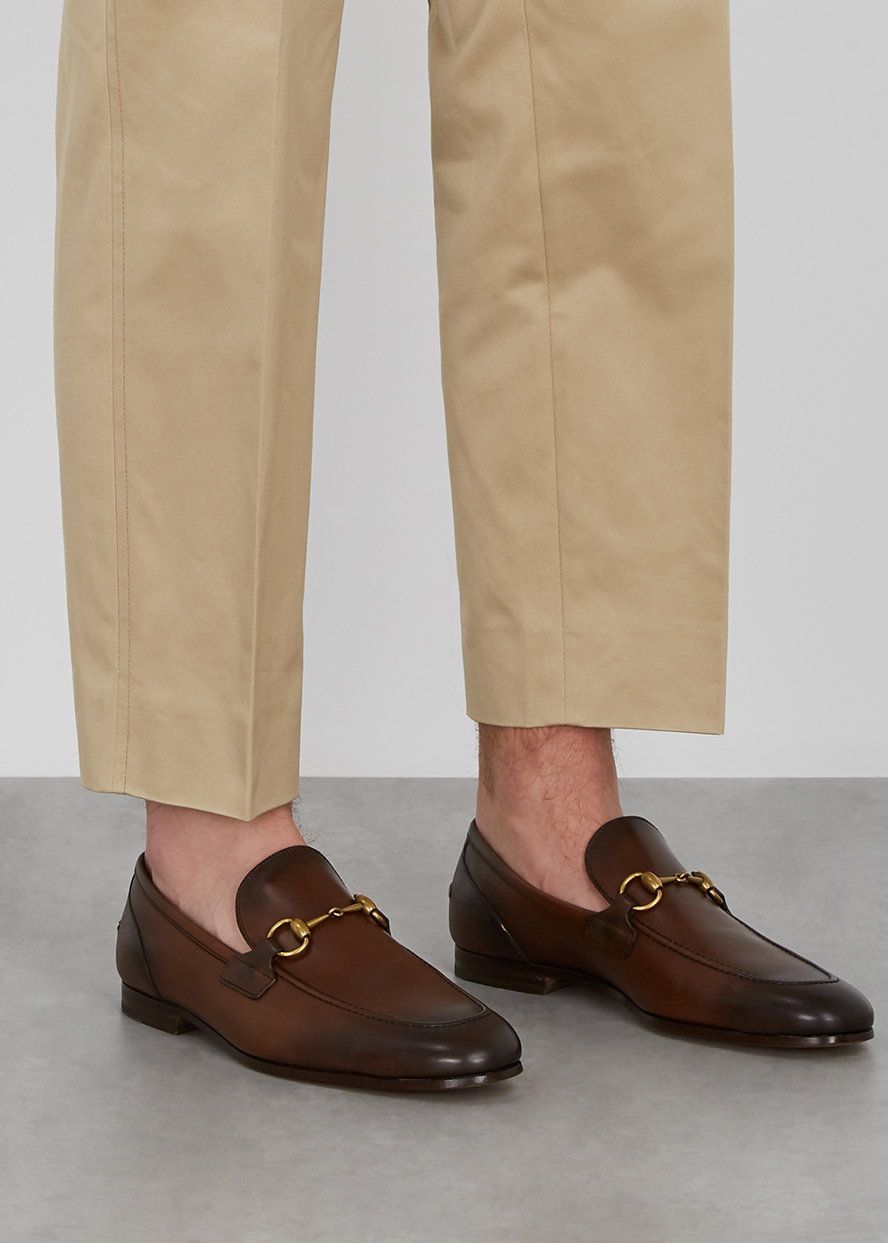 Gucci Jordaan brown leather loafers