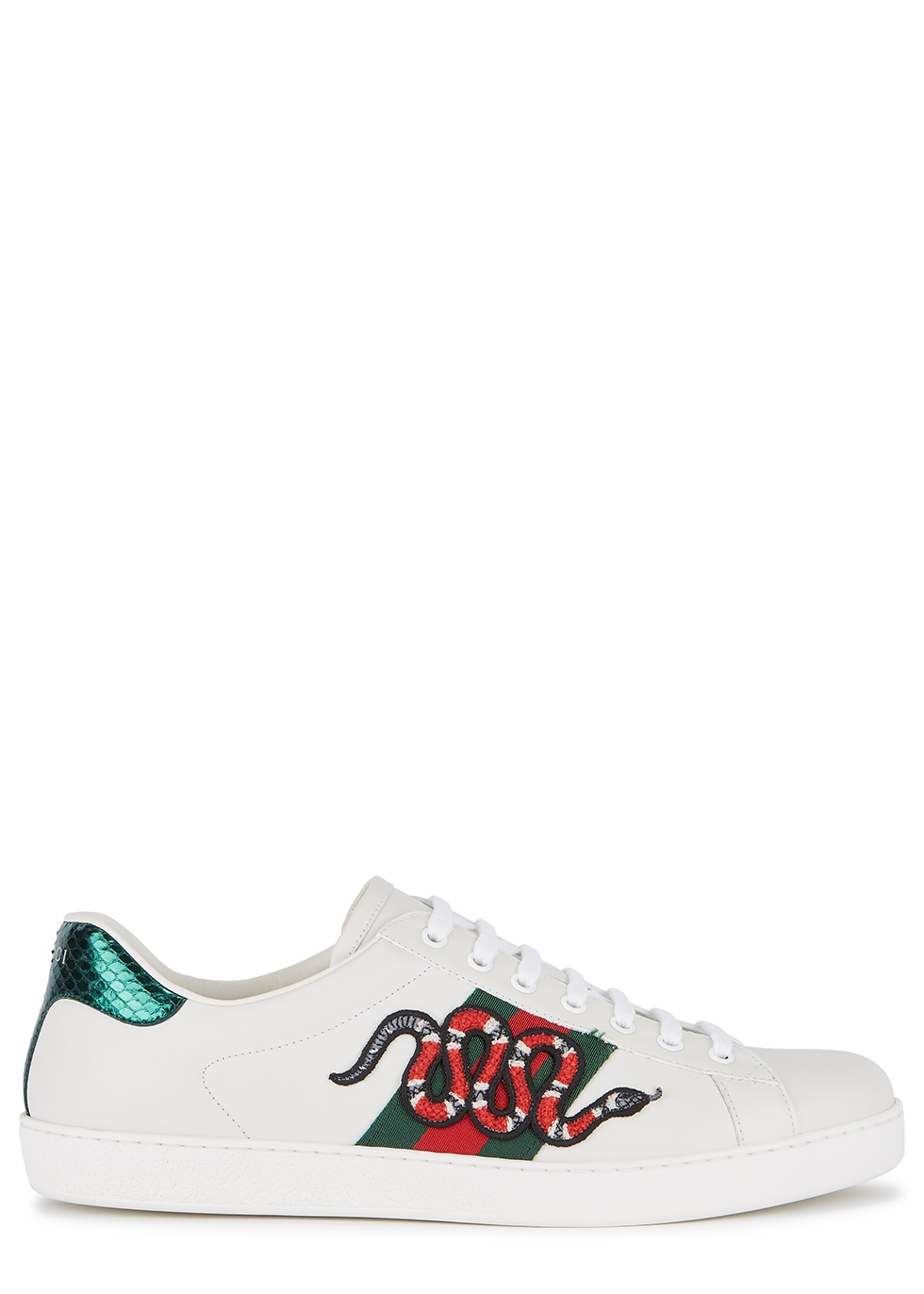 Ace snake-embroidered leather sneakers