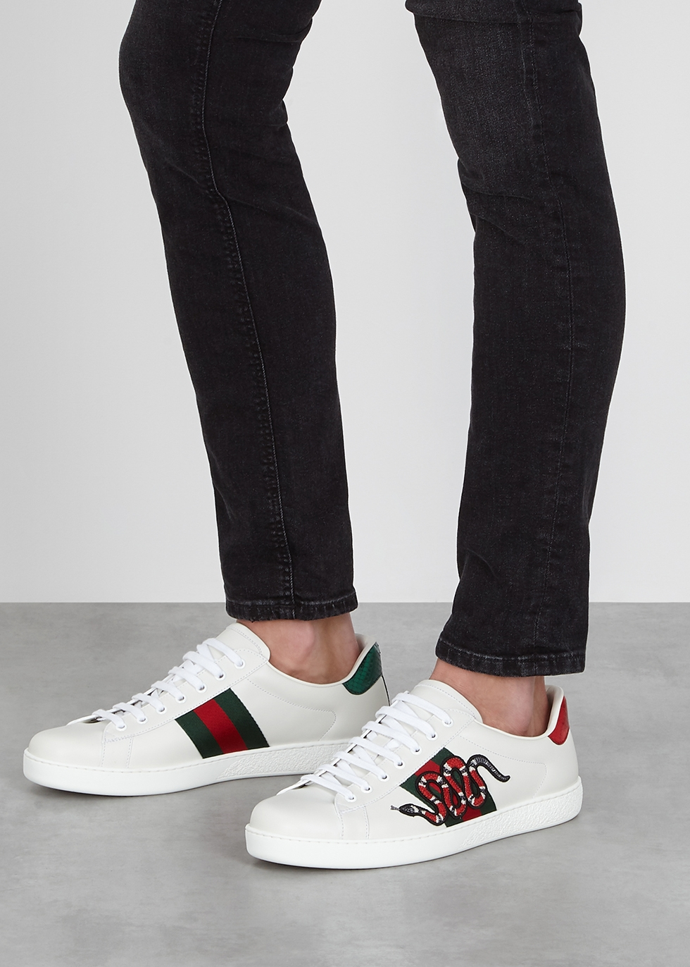 Gucci Ace snake-embroidered leather