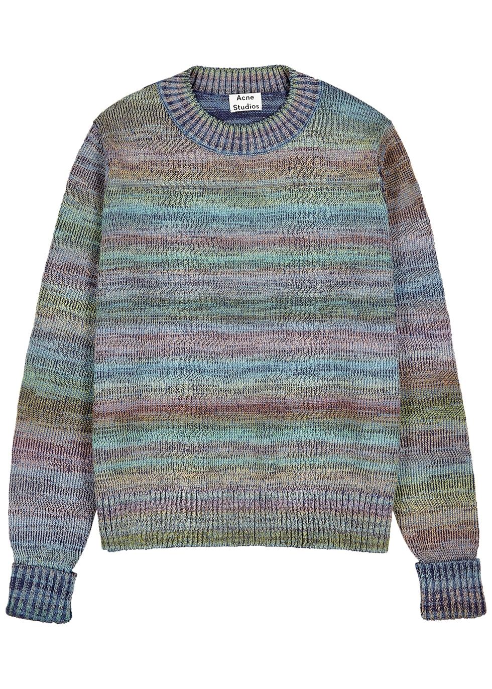 Blue striped knitted cotton-blend jumper