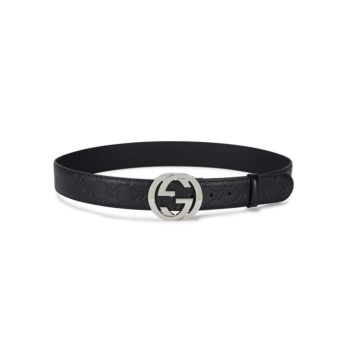 Gucci GG Black Logo-embossed Leather Belt