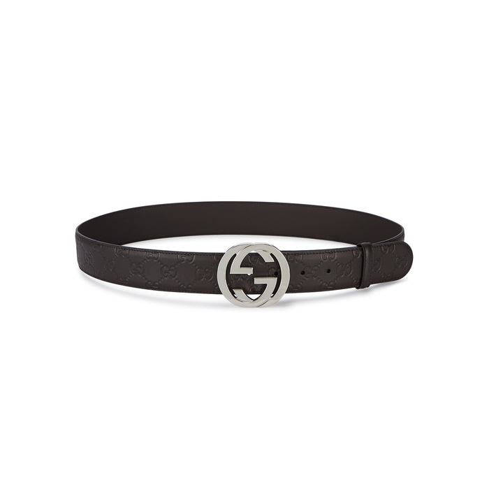 Gucci GG Brown Logo-embossed Leather Belt