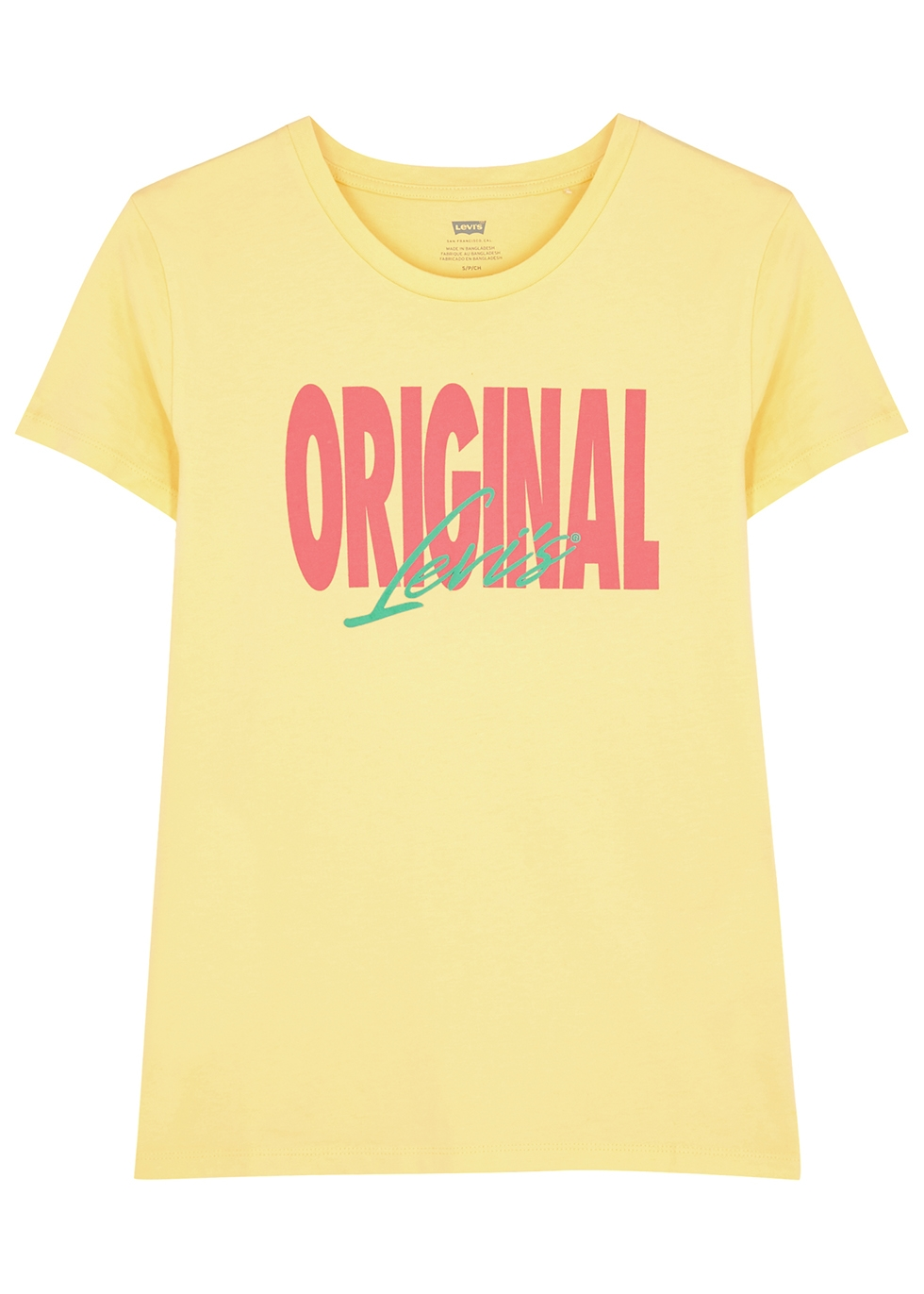 Yellow printed cotton T-shirt