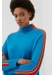 Turquoise ripple wool-cashmere turtleneck sweater - Chinti & Parker