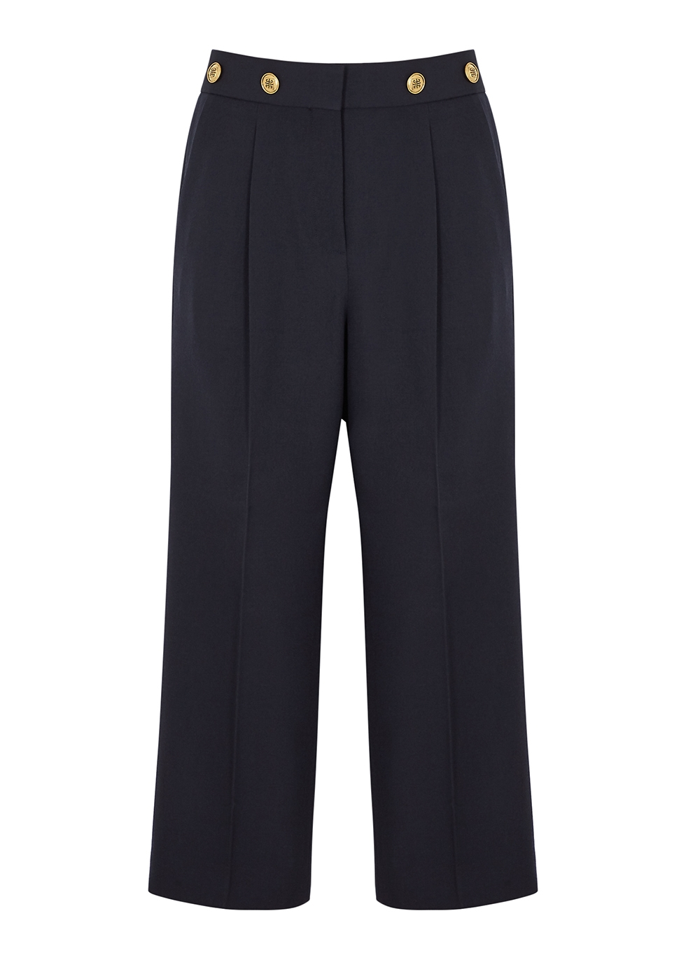 Navy cropped straight-leg wool trousers
