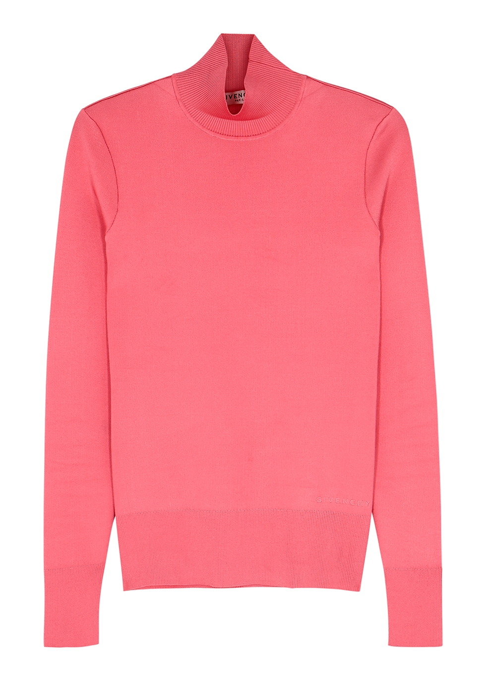 Pink high-neck stretch-knit top