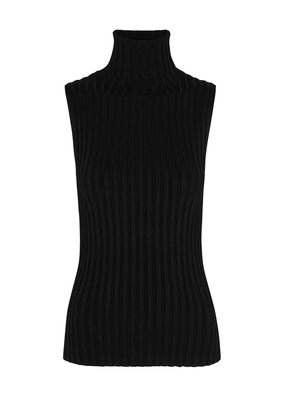 Stefania black ribbed-knit tank