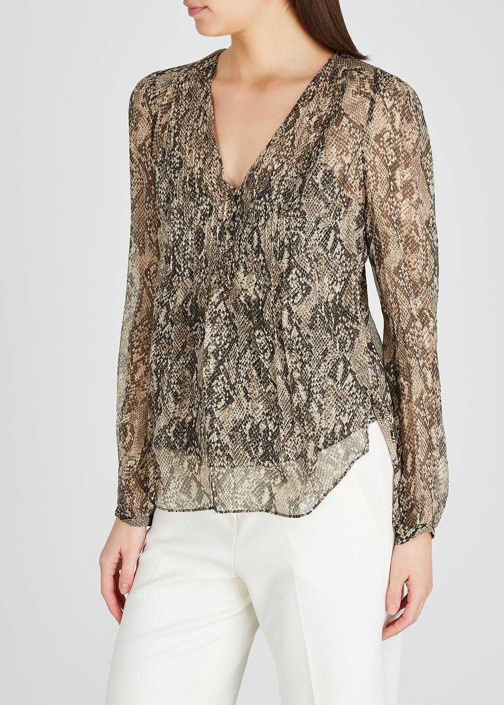 Veronica Beard Lowell python print chiffon blouse Harvey