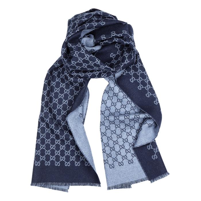 Gucci Blue GG-jacquard Wool Scarf