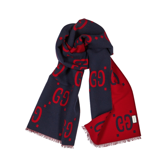Gucci GG Logo-intarsia Wool-blend Scarf