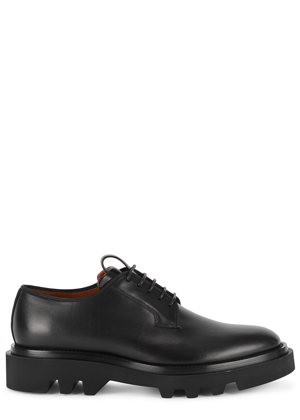 Black glossed leather Derby shoes