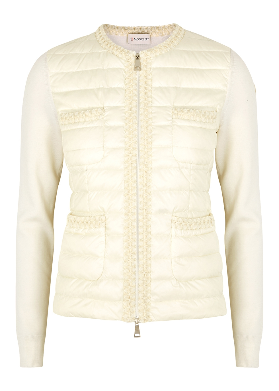 White wool and quilted shell jacket