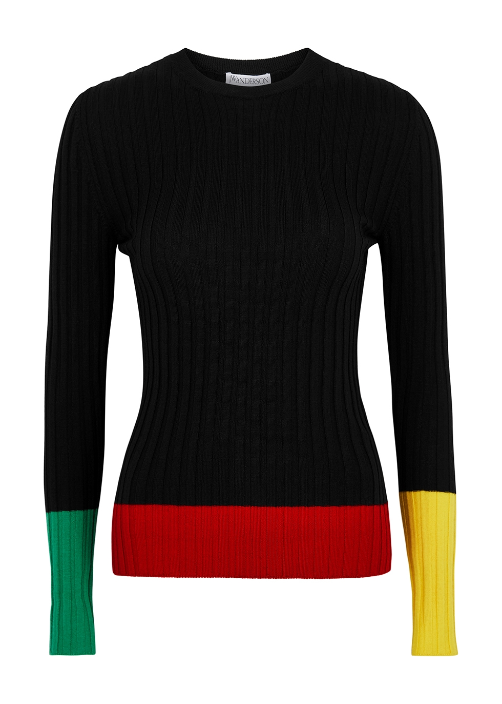 Colour-blocked ribbed wool jumper