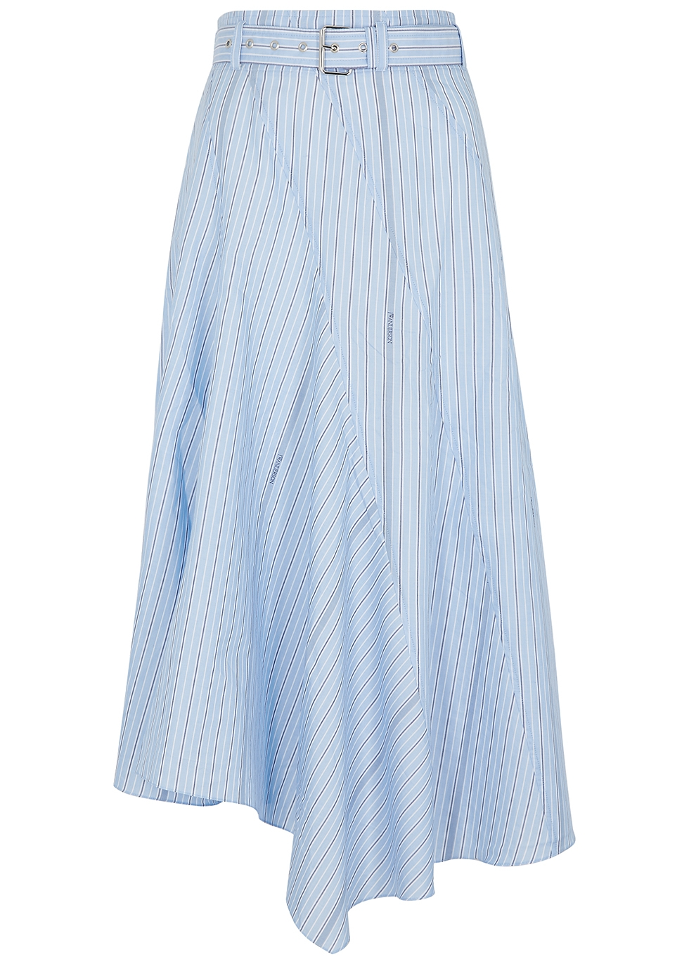 Blue striped asymmetric cotton midi skirt