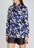 Blue floral-print satin shirt - Boutique Moschino