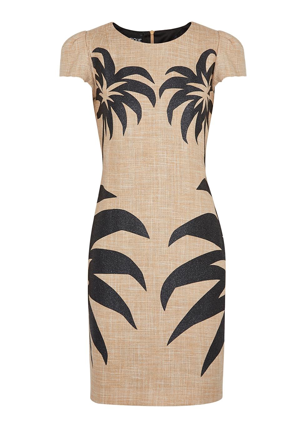Palm-print cotton-blend mini dress