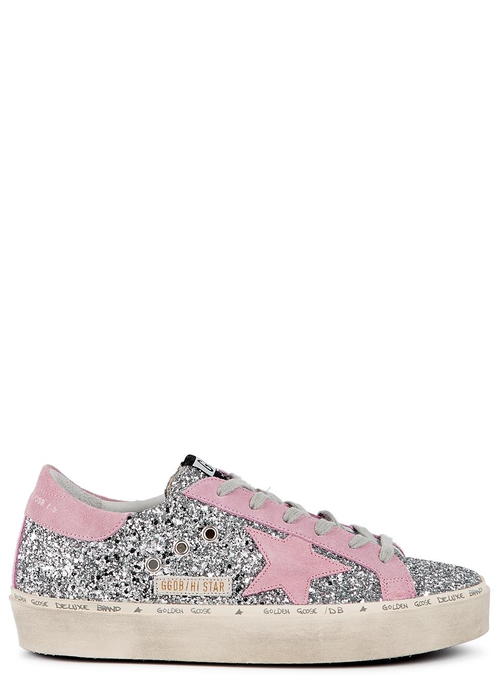 Hi Star silver glittered flatform sneakers