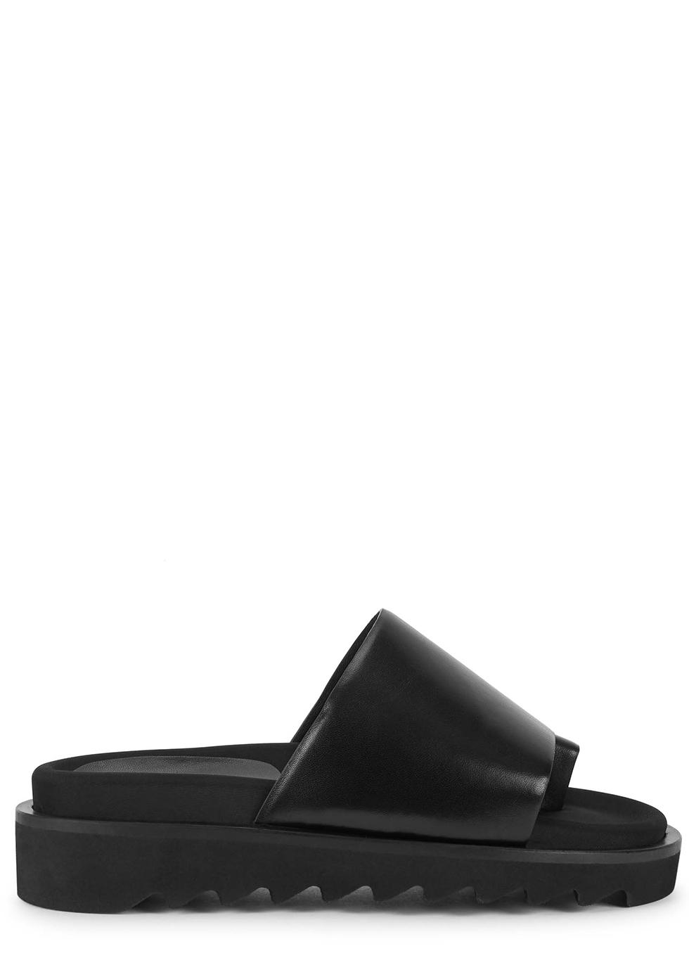 40 black leather sliders
