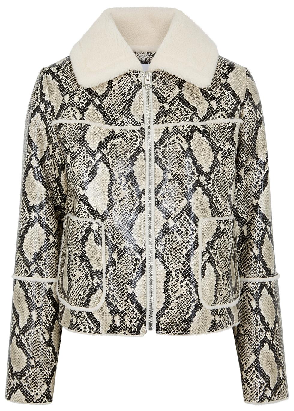 Maj python-effect faux leather jacket