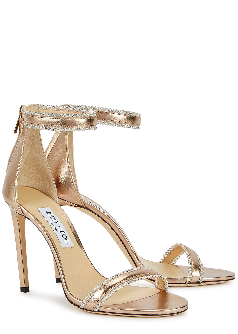 JIMMY CHOO Dochas 100 gold leather sandals