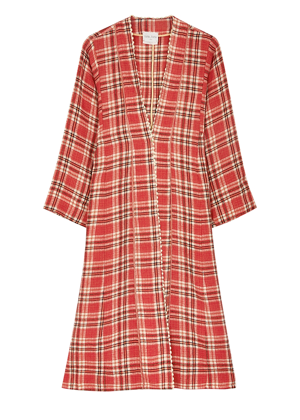 Red checked linen-blend coat