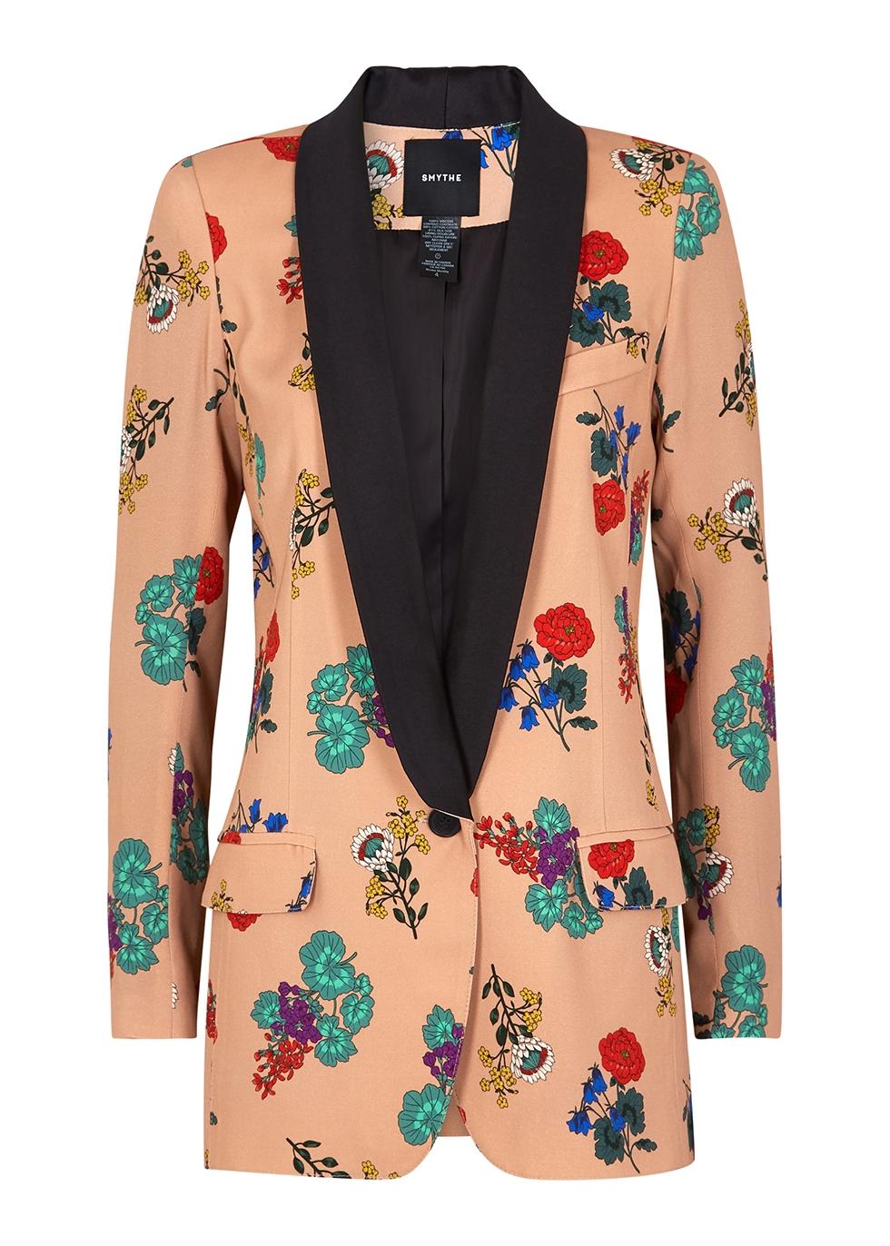Dusky pink floral-print blazer
