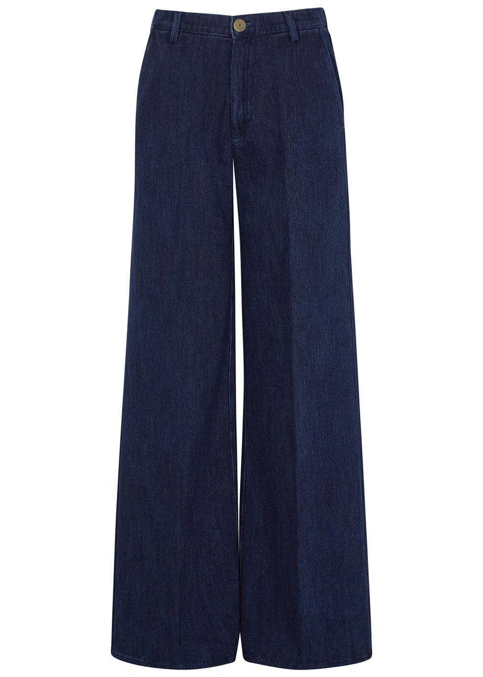Dark blue wide-leg jeans