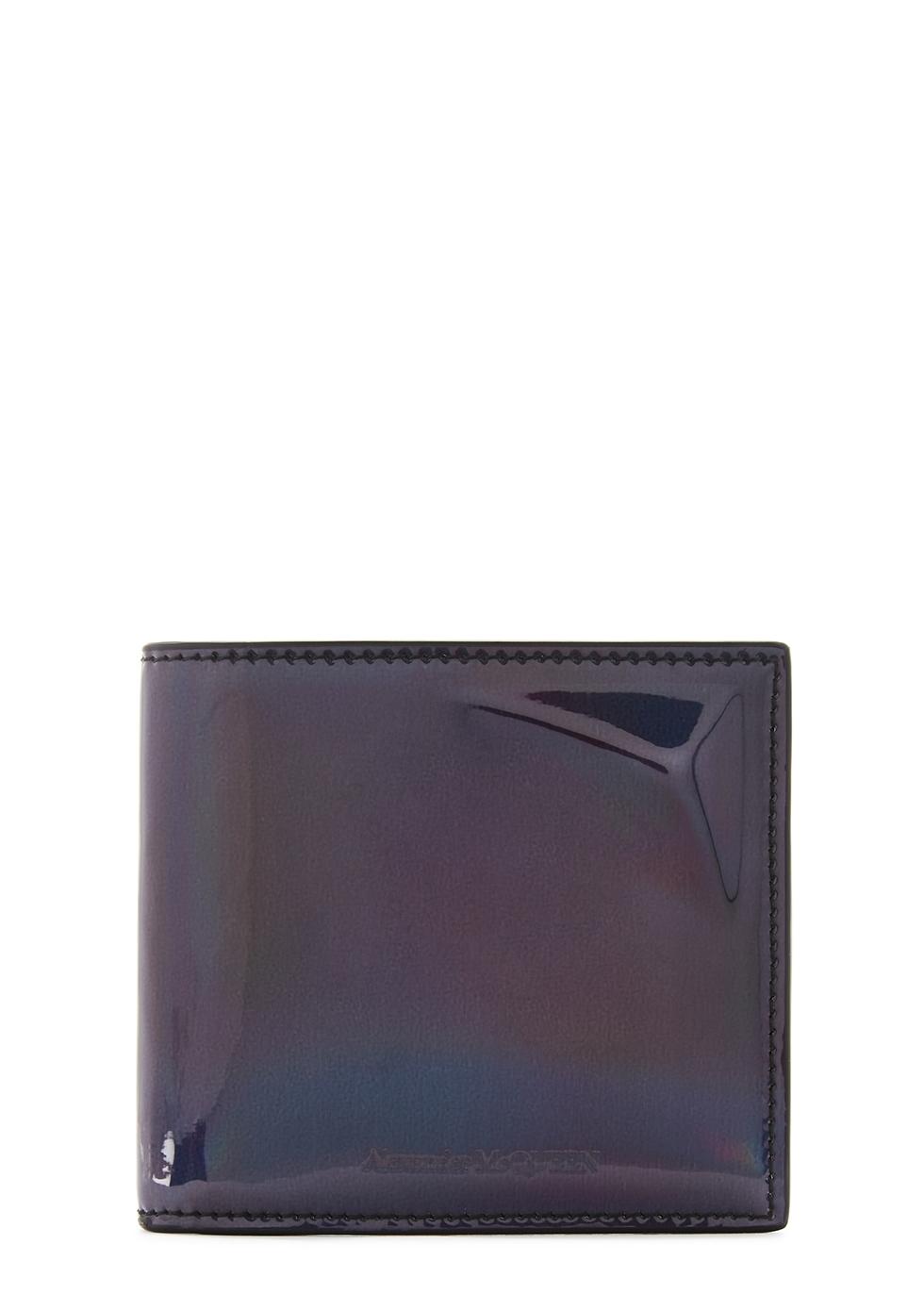 Iridescent gunmetal leather wallet