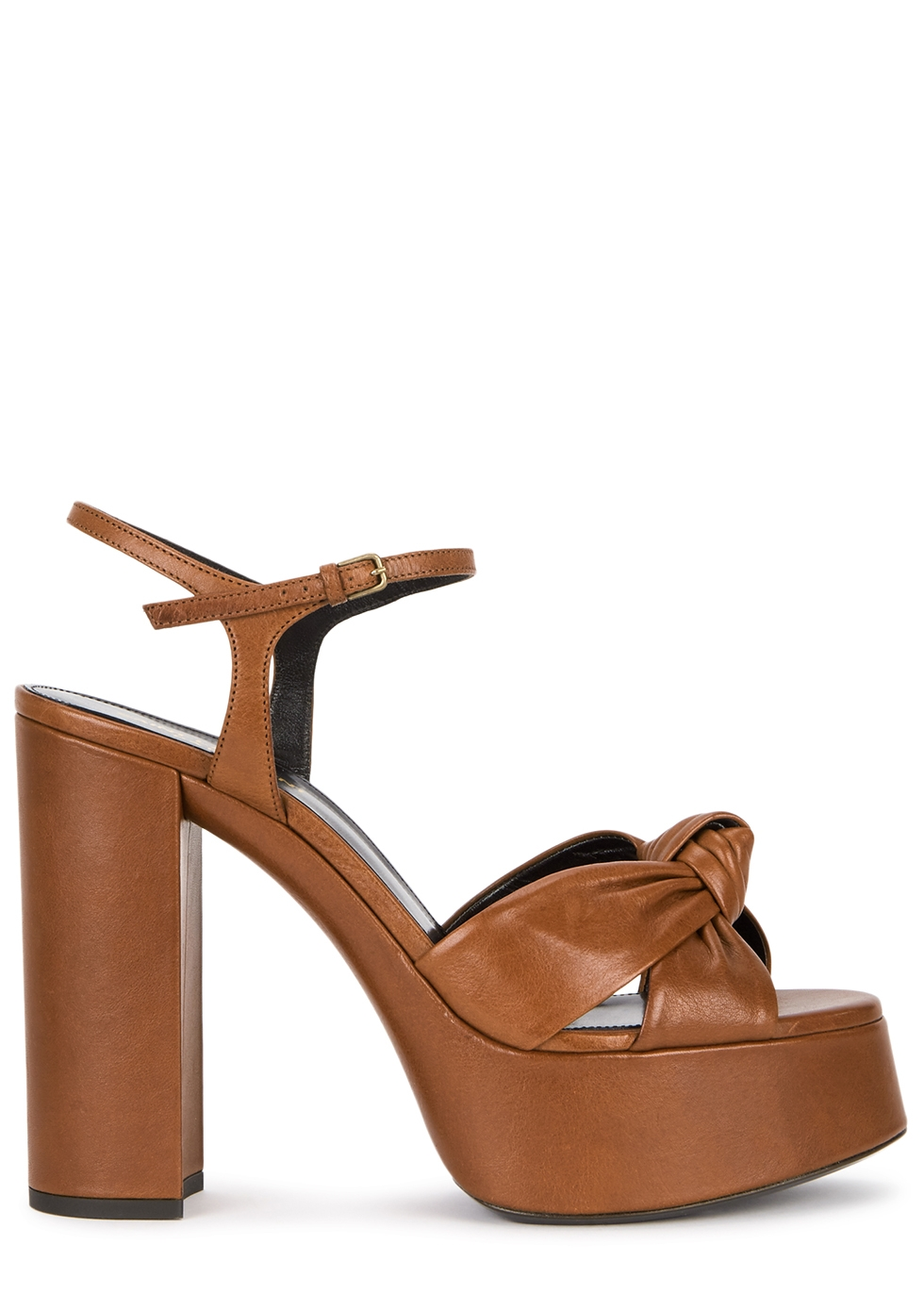 Bianca brown leather platform sandals