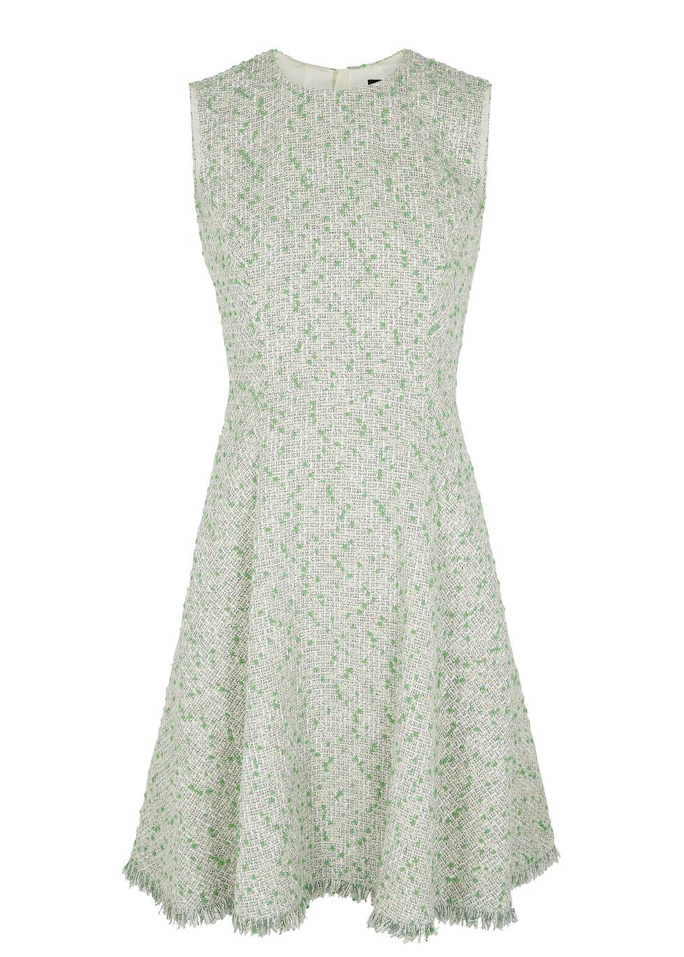 Green bouclé-tweed dress