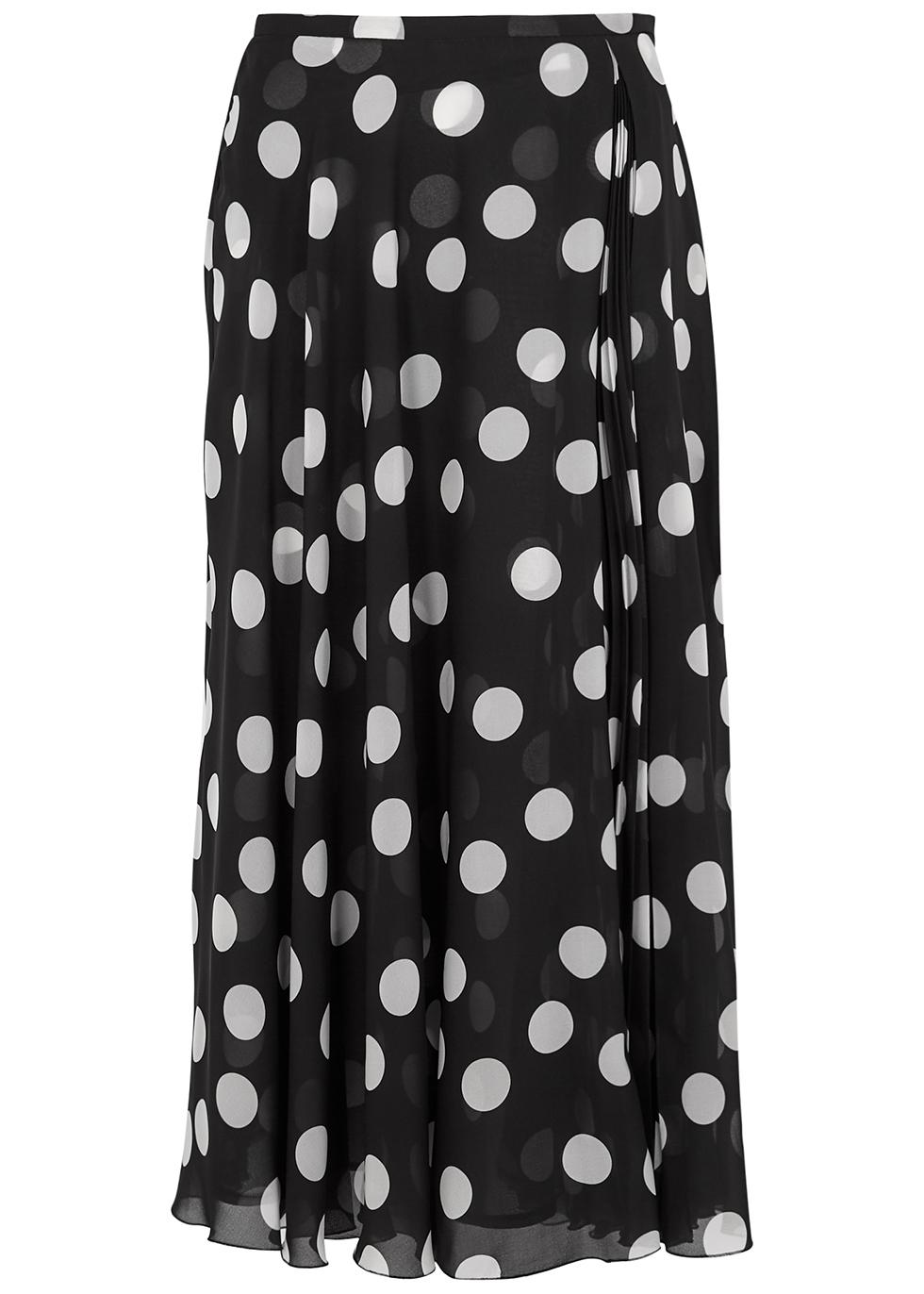 Polka-dot chiffon midi skirt